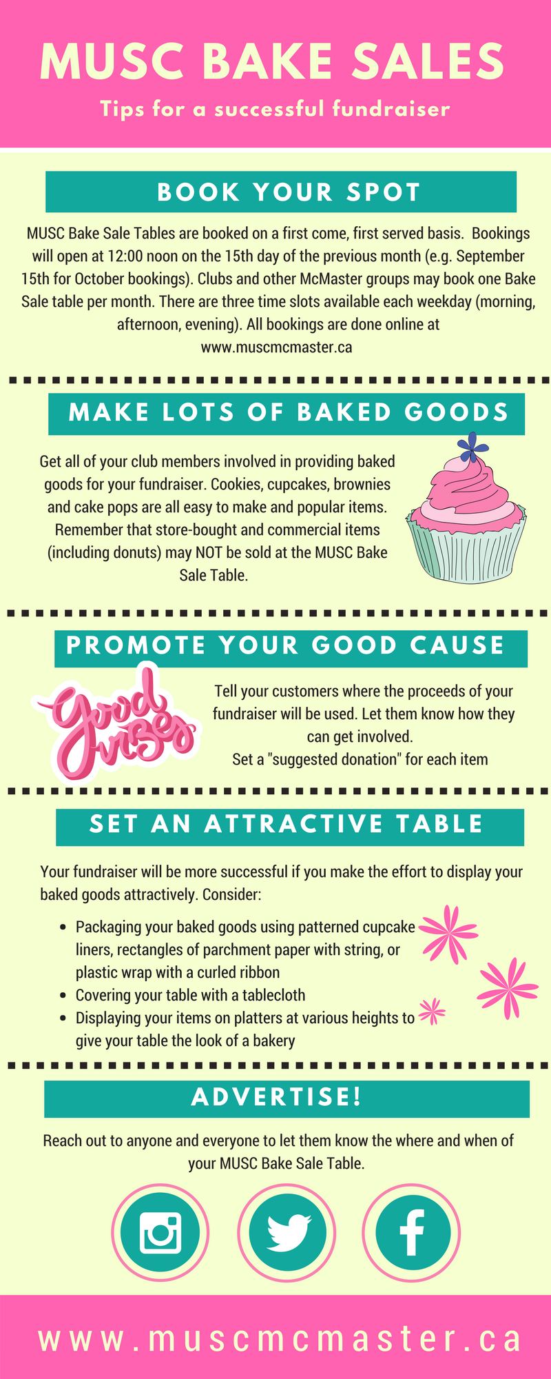 musc bake sale tips