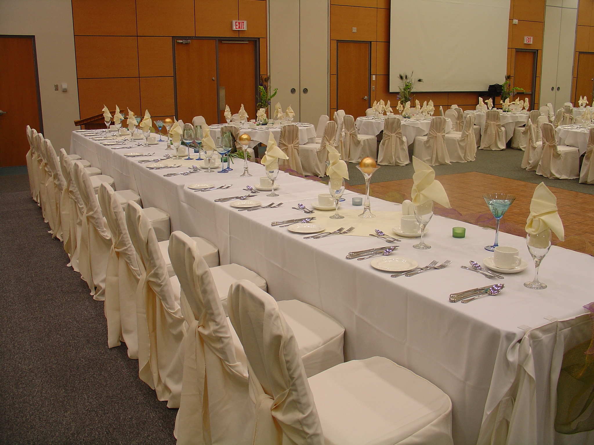 CIBC Hall wedding setup-head table